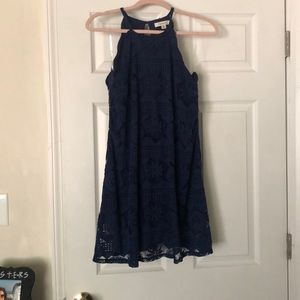 Blue Halter Shift Dress